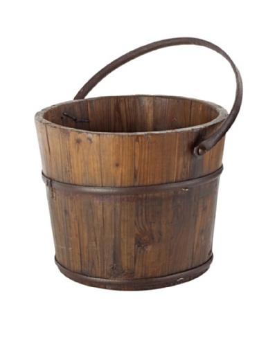 Antique Revival Wooden Round Wash Bucket [Natural]