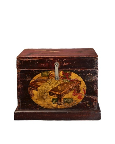 Antique Revival Handpainted Wooden Trunk