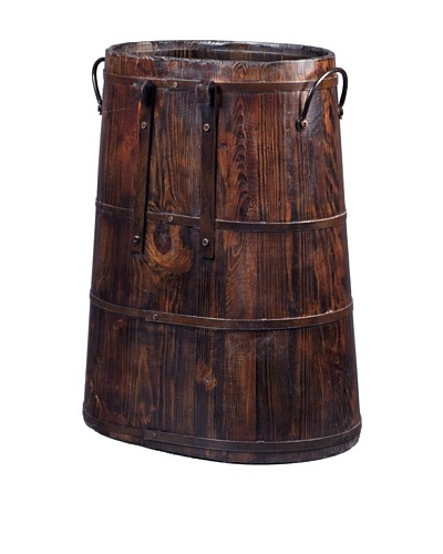 Antique Revival Chinese Barrel with Iron Rings [Natural]