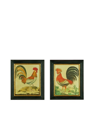 Set of Two Framed Reproduction Rooster Prints