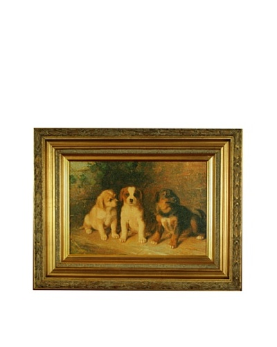 Framed Reproduction Puppy Love Painting