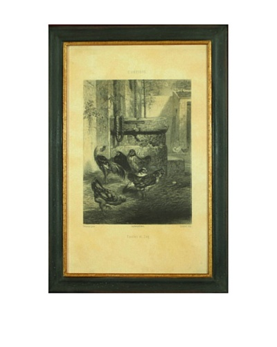Poulet et Cog Framed Reproduction Lithograph