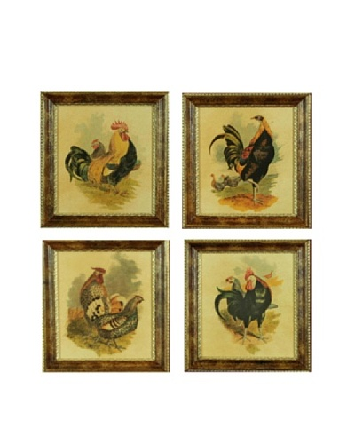 Set of Four Framed Reproduction Rooster Prints