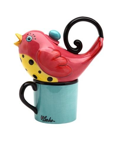 Appletree Design 2-Piece Ceramic Pink Bird Tea for One Set