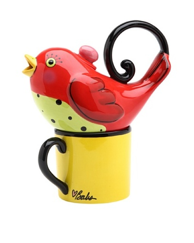 Appletree Design 2-Piece Ceramic Red Bird Tea for One Set