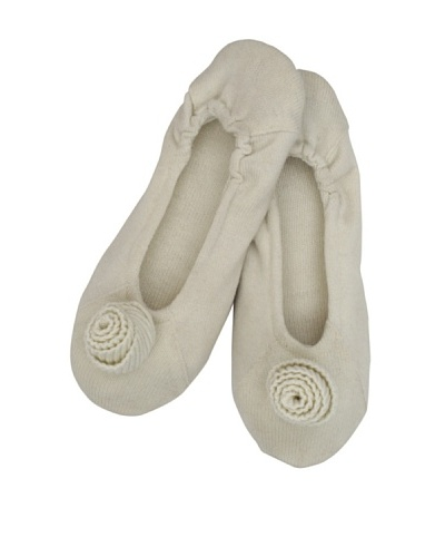 a&R Cashmere Slippers with Flower, Crème Fraiche