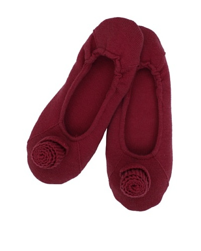 a&R Cashmere Slippers with Flower, Claret