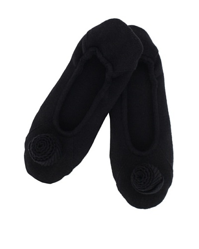 a&R Cashmere Slippers with Flower, Black