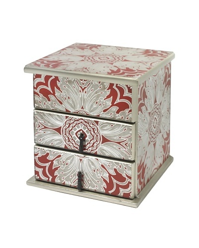 Arcadia Home Tomato Reverse-Painted Mirror Jewelry Box with 2 Drawers & Lift-Up Lid