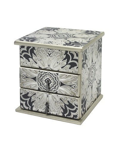 Arcadia Home Midnight Reverse-Painted Mirror Jewelry Box with 2 Drawers & Lift-Up Lid