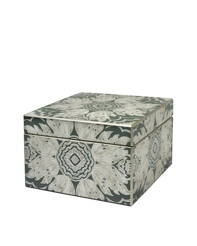 Arcadia Home Green Reverse-Painted Mirror Jewelry Box