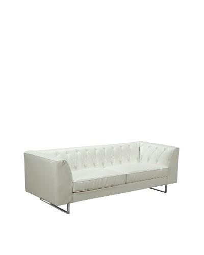 Armen Living 309 Troika Bonded Leather Sofa, White