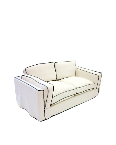 Armen Living South Beach Loveseat in Slipcover, White