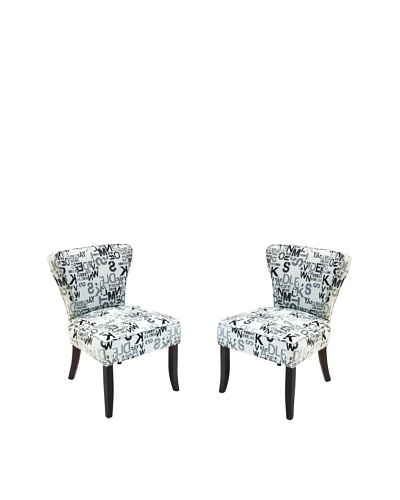 Armen Living Set of 2 Modern Accent Chairs in Alpha Letters Fabric, Gray
