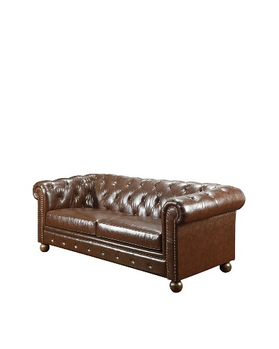 Armen Living Winston1060 Bonded Leather Vintage Sofa, Mocha