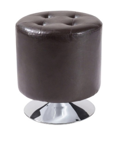 Armen Living Ruby Bonded Leather Round Ottoman, Brown