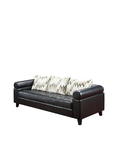 Armen Living 303 Vasken Bonded Leather Sofa, Black