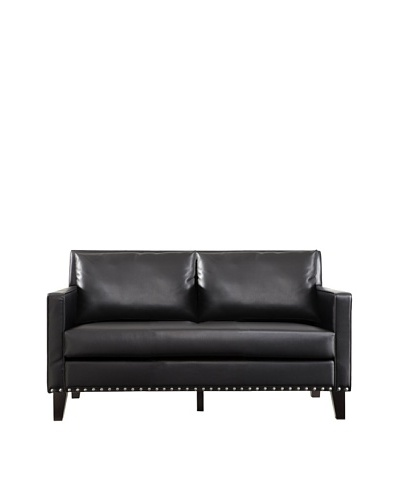 Armen Living Dallas Loveseat with Leather and Cowhide Side Panels, Black