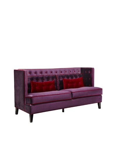 Armen Living Moulin Loveseat in Velvet with Contrast Piping, Purple/Red