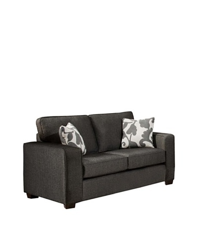 Armen Living Calvin Loveseat in Talbot Fabric, Onyx