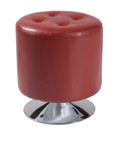 Armen Living Ruby Bonded Leather Round Ottoman, Red