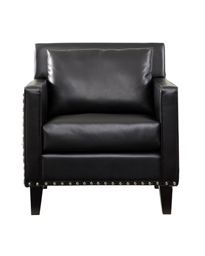 Armen Living Dallas Chair with Leather and Cowhide Side Panels, Black