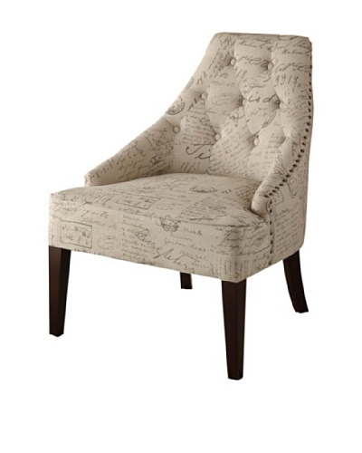Armen Living Devonshire Chair in Vintage French Print Fabric, Off-White