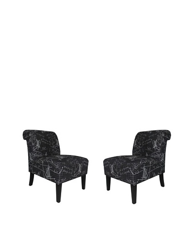 Armen Living Set of 2 Modern Accent Chairs in Architectural Fabric, Black