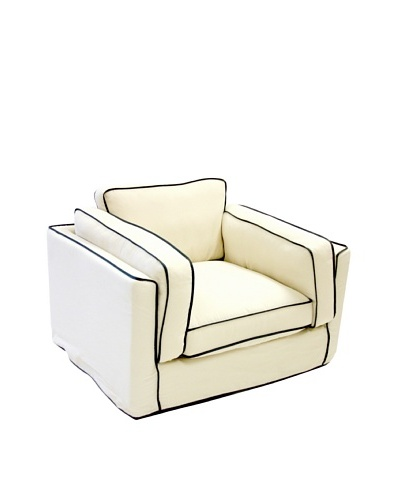 Armen Living South Beach Chair in Slipcover, White