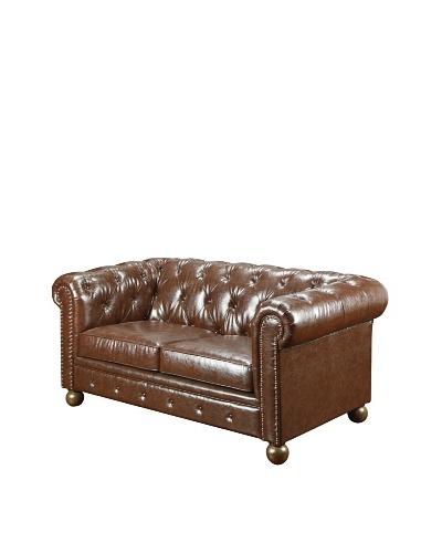 Armen Living Winston1060 Bonded Leather Vintage Loveseat, Mocha