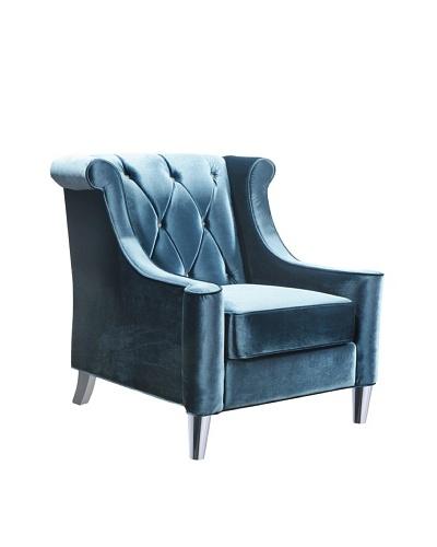 Armen Living Velvet Barrister Chair, Blue