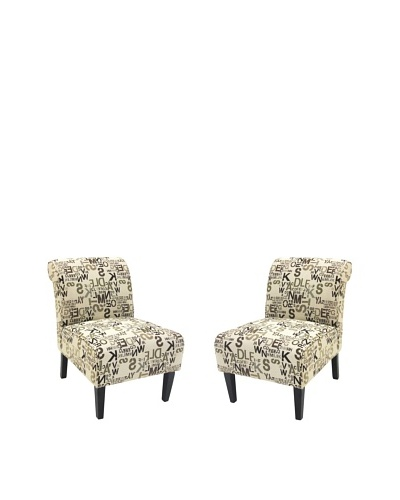 Armen Living Set of 2 Modern Accent Chairs, Cream