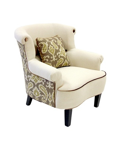 Armen Living Deerfield Chair In Ikat Fabric, Green/Cream