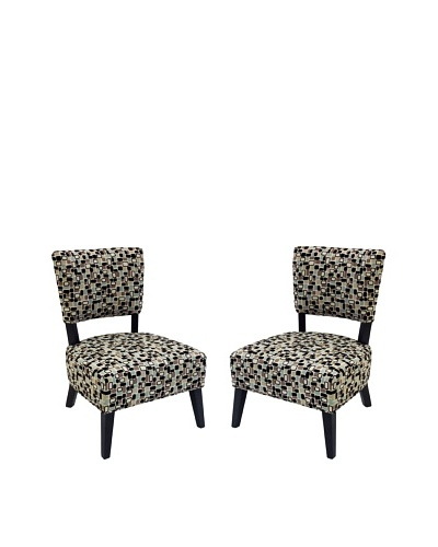 Armen Living Set of 2 Modern Accent Chairs, Brown