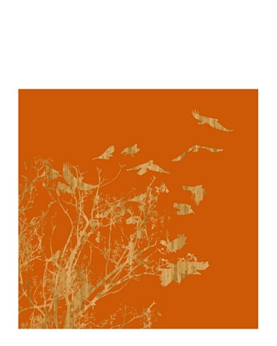 Art Addiction Woodcut Birds I 30 x 30 Acrylic Panel