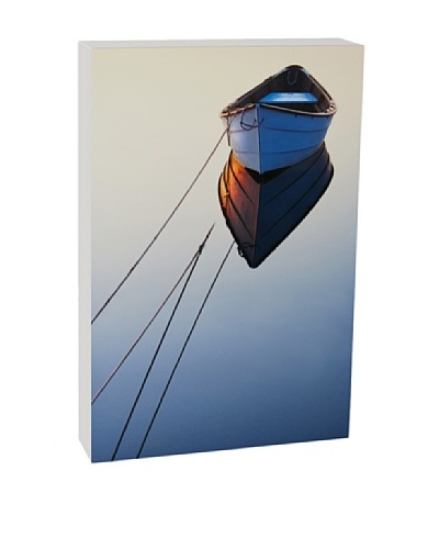 Art Block Lone Boat - Fine Art Photography On Lacquered Wood Blocks