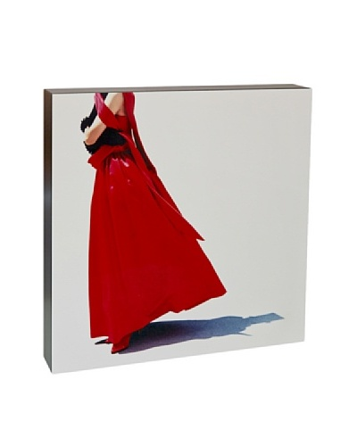 Art Block Red Dress- Fine Art Photography On Lacquered Wood Blocks