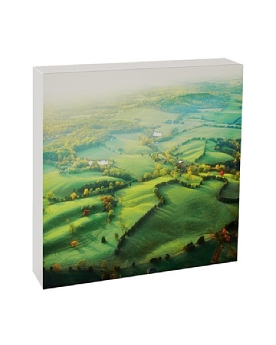 Art Block Aerial Fields - Fine Art Photography On Lacquered Wood Blocks