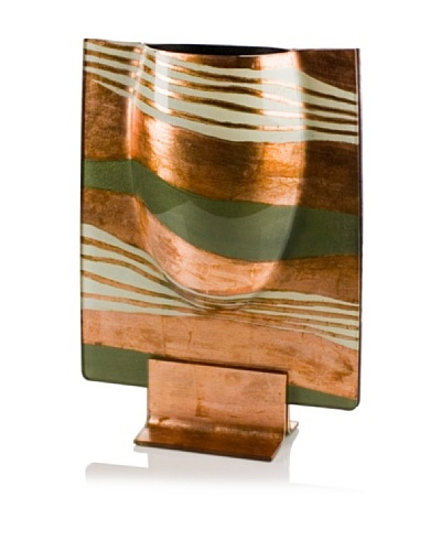 Gold and Green Rectangle Bulb Vase