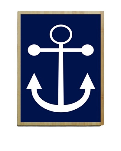 Artehouse Navy Anchor Bamboo Wood Sign