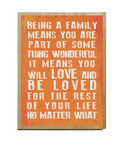Artehouse Being a Family- Coral Bamboo Wood Sign, 24 x 18