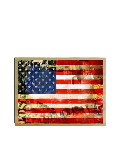 Artehouse US Flag Bamboo Wood Sign
