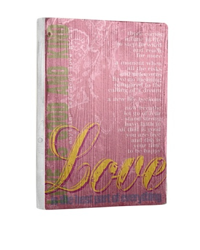 Lisa Weedn Love Pink Reclaimed Finished Wood Portrait