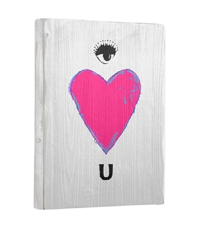 Lisa Weedn Eye Love You White Reclaimed Finished Wood Portrait