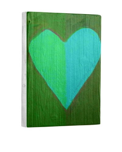 Lisa Weedn Two Toned Green Heart Reclaimed Finished Wood Portrait