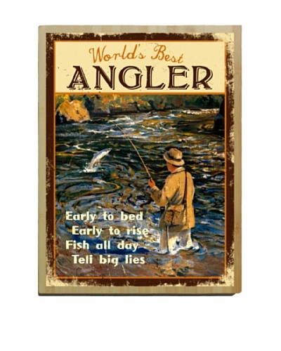 Artehouse World's Best Angler Bamboo Wood Sign