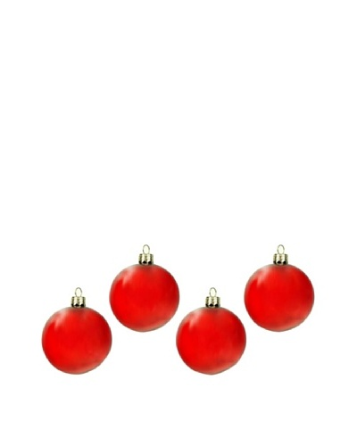 Artisan Glass by Seasons Designs Set of 4 Solid Glass Ornaments, Red