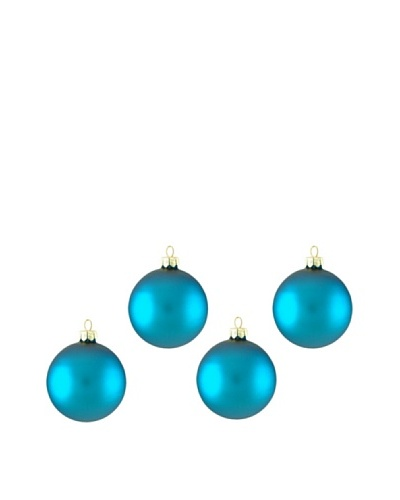 Artisan Glass by Seasons Designs Set of 4 Solid Glass Ornaments, Turquoise Matte