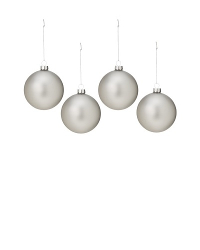 Artisan Glass by Seasons Designs Set of 4 Solid Glass Ornaments, Silver