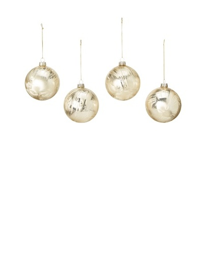 Artisan Glass by Seasons Designs Set of 4 Solid Glass Ornaments, Gold Ice Crystal